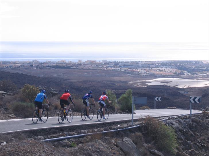Cyclists on road GC-503 above Maspalomas