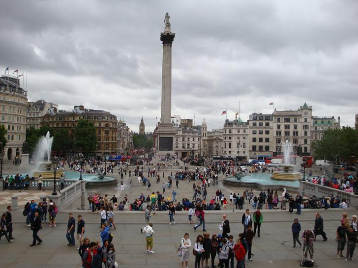 Trafalgar Square: View from the National Gallery to Whitehall