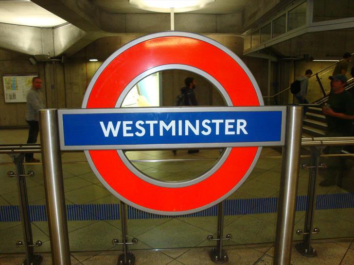 Westminster tube station sign