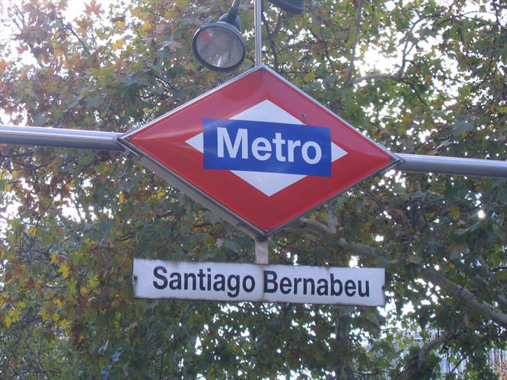 Santiago Bernabéu metro station sign at Plaza de Lima
