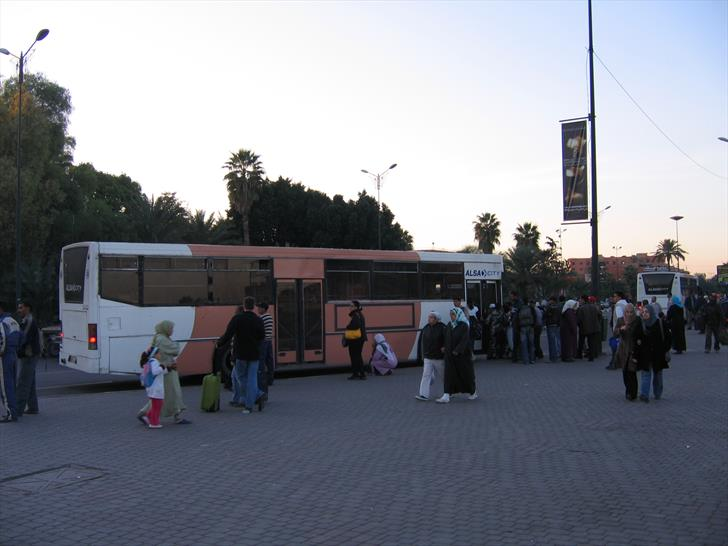 Marrakech bus station - local bus stop