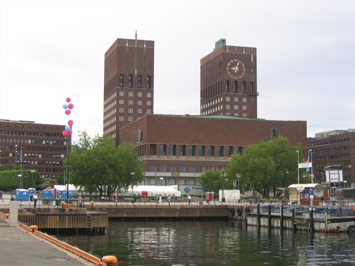 Oslo City Hall as seen from the harbour