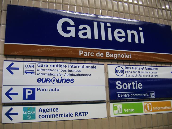 Paris Gallieni Bus Station - sign at the metro station