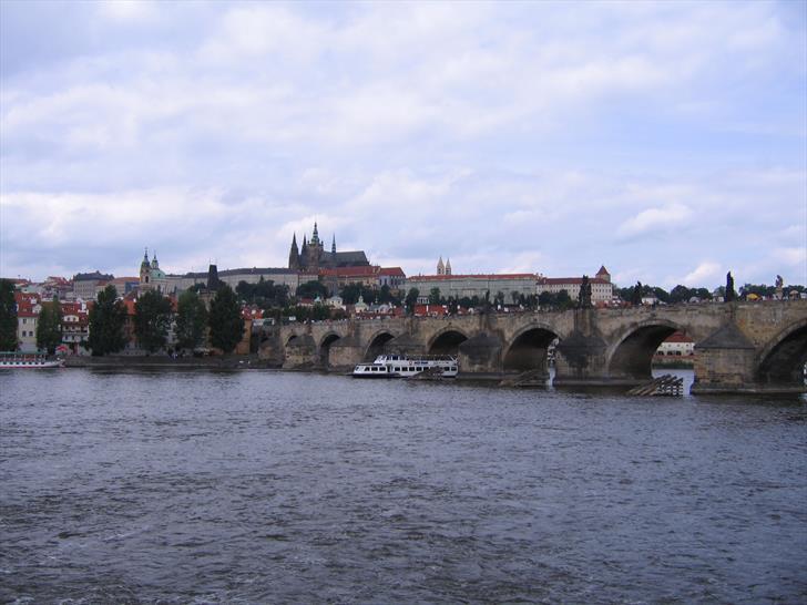 Prague river Vltava, Prague Castle and Charles Bridge